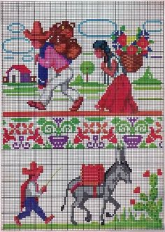 Simple Cross Stitch, Mexican Style, Ribbon Embroidery, Needlepoint, Needlework, Betty Boop, Kids Rugs, Sewing, Knitting