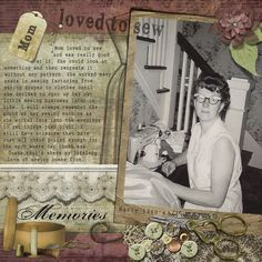 Remembering Mom Sewing Heritage Scrapbook Layout by DSP member pixiesteps