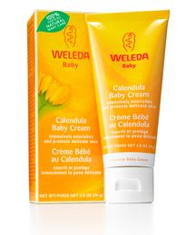 Weleda Calendula Baby Cream  Before your baby was born, you'd probably never heard of cradle cap and infant acne. This gentle, organic cream uses chamomile flower extract to calm inflammation and soothe that blotchy, dry baby skin. Meanwhile, sweet almond oil and beeswax moisturize and protect. Perfect for those last blustery days of winter!