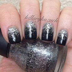 Black And Silver Nail Art Nails Pinterest Silver Nail Art