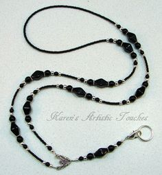 Black Elegant Glass Beaded Lanyard ID Badge by ArtisticTouches, $26.00