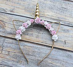 Pink Unicorn | Floral Unicorn Headband | Floral Festival Wear | Unicorn Inspired Headband | Festival Wear