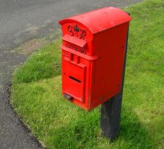 Red letterbox.