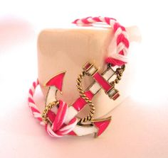 Braided Nautical Anchor Bracelet // Hot Pink and by hardlyExpected