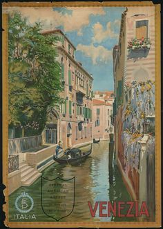 Venice, Italy vintage travel poster from the early 19th century.