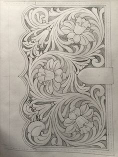 Leather tooling pattern for journal, book cover or clutch Leather Carving, Leather Art, Leather Tooling, Custom Leather, Handmade Leather, Leather Jewelry, Tooled Leather, Wood Carving Patterns, Carving Designs