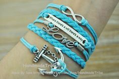 Silver Anchor & Infinity Wish Bracelet LOVE by HandmadeTribe, $5.19 Simple fashion handmade leather bracelet,the best gift of friendship.