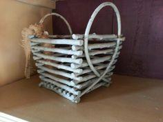 Folk art teal painted twig basket $22.00