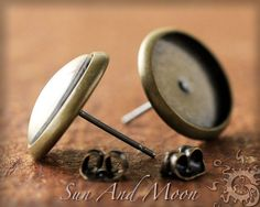 10 Pair 12mm Earring Stud Settings with by SunAndMoonCraftKits, $10.00