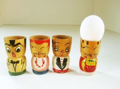 Four Fun Wood Egg Cups - Each a Little Different - From Japan With Great Faces -  All Colors and Characters - Creative and Fun Painted Wood on Etsy, $20.68