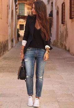 converse Grauer Blazer, Schwarze Blazer, Coole Mode, Lässig Kleidung,  Frühling Mode, 8e2a09c68b