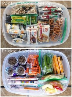 School Lunch Hacks Make a Fridge and Pantry Snack Station for Easy Packing. Take a look at our fun School Lunch Hacks on Frugal Coupon Living. Crafty, Creative, and Why Didn't I Think of That ideas! Lunch Snacks, Snacks Road Trip, Boat Snacks, Camping Snacks, Road Trips, Baby Food Recipes, Snack Recipes, Snack Hacks, Detox Recipes