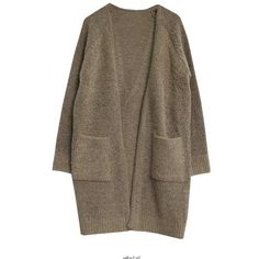 Raglan-Sleeve Open-Front Long Cardigan ❤ liked on Polyvore featuring tops, cardigans, brown tops, raglan top, raglan sleeve top, open front tops and long open front cardigan