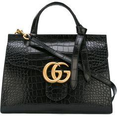 Gucci GG Marmont top handle bag (€20.390) found on Polyvore featuring women's fashion, bags, handbags, gucci, purses, black, gucci tote bag, handbag purse, genuine leather handbags and leather tote bags