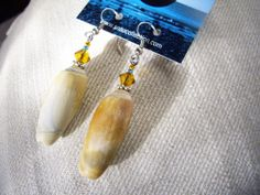 Versailles -  Earrings – Seashells and Crystal. Shades of amber, grey and a touch of blue. Length of earrings 2 1/4″ (5.5 cm) - 39.95 - See this unique piece on seaucollection.com