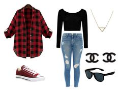 """""""School outfit"""" by isa-anguo on Polyvore featuring Boohoo, Frame Denim, Converse and Banana Republic"""