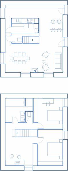 Architectes - Atelier 56 S - Rennes - Paris | 010_MAISON AA 2 Bedroom Apartment Floor Plan, Tyni House, Interior Design Renderings, Construction, Small Places, Architecture Plan, House Plans, Floor Plans, Layout