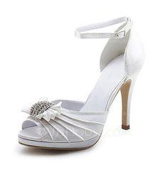 Women's Satin Stiletto Heel Peep Toe Sandals With Bowknot Buckle Rhinestone (047008151)