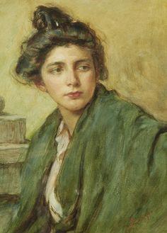 Alessandro Zezzos Portrait of a woman with a chignon. Italian, 1848-1913