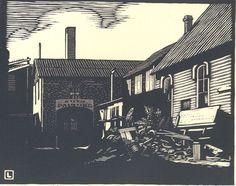 """By Herschel Logan.  """"Morning Sunlight """"    Block print, 1932    5.5 x 7"""