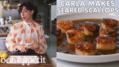 Carla Makes Seared Scallops with Brown Butter & Lemon Sauce Lamb Recipes, Side Dish Recipes, Fish Recipes, Seafood Recipes, Dinner Recipes, Dinner Ideas, Keto Recipes, Recipies, Dried Scallops