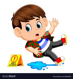 Boy slipping on wet floor vector image on VectorStock Safety Rules For Kids, Home Safety, Picture Comprehension, Sequencing Pictures, Sleeping Boy, Diy Cnc Router, Action Cards, Wet Floor, Infant Activities