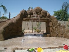 splash pad with rocks LUV safer than a pool but just as fun!