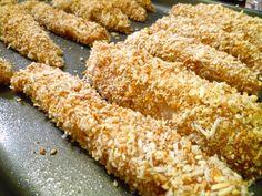 Stip T's - Sesame and Coconut Crusted Turkey Strips Snack Recipes, Healthy Recipes, Snacks, Turkey Dishes, Crusted Chicken, Coconut Recipes, Toasted Coconut, Healthy Alternatives, I Love Food
