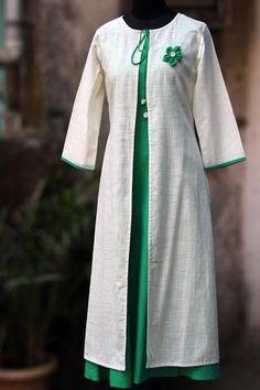 dress - porcelain white & sea green