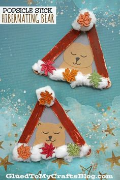 Popsicle Stick Hibernating Bear - Kid Craft For Winter - Winter Kids Crafts and Activities Kids Crafts, Winter Crafts For Toddlers, Animal Crafts For Kids, Daycare Crafts, Winter Kids, Cute Crafts, Toddler Crafts, Craft Stick Crafts, Winter Art