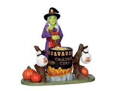 Lemax Spooky Town Cauldron Corn Add some ghoulish delight to your Halloween scene with this scary pair. Halloween Scene, Halloween Village, Halloween House, Halloween Art, Halloween Decorations, Happy Halloween, Halloween Knitting, Halloween Stuff, Lemax Christmas