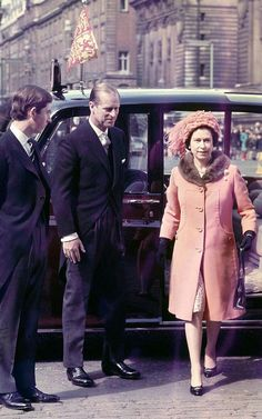 1968: Queen Elizabeth II with Prince Phillip and Prince Charles, arriving for the Maundy Thursday service at Westminster Abbey.