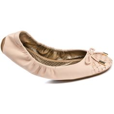 Me Too Women's Leila Flats (125 CAD) ❤ liked on Polyvore featuring shoes, flats, shell nude nappa, me too flats, nude flats, bow flats, nude ballet flats and slip-on shoes