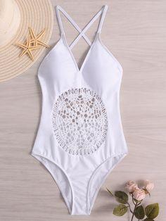 06e4216f05 White Hollow Design Deep V Neck One Piece Swimwears Lifestyle Online,  Swimsuits, Bikinis,