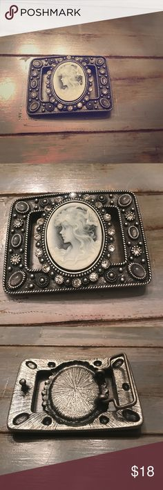 Cameo rhinestone studded belt buckle Gorgeous cameo and rhinestone studded belt buckle...never worn and can be dressed up or down! Great piece! Accessories Belts