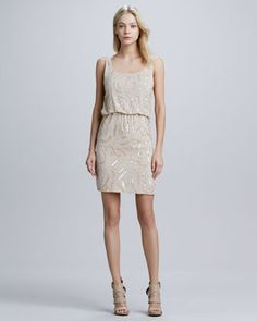 Gabby Beaded Blouson Dress by Alice + Olivia. Beautiful nude. Nice change from basic black. Check out the detailed beading.