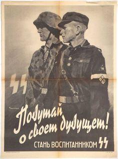 Original SS-RUSSIAN RECRUITMENT POSTER. Check out my website for more original WW2 items: http://www.vantiques.nl