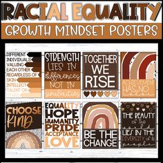 Equality Slogans, Racial Equality, Equality Quotes, Classroom Decor Themes, Classroom Bulletin Boards, Classroom Ideas, Growth Mindset Posters, Higher Order Thinking, Classroom Community