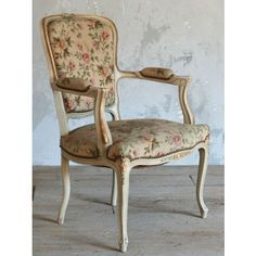 Vintage Single Armchair in Cream and Gold with Floral Upholstery c1930 $895.00 #thebellacottage #shabbychic #eloquence