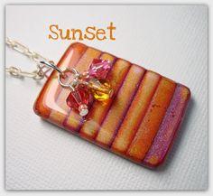 Mica shift Sunset Pendant with Swarovski Crystal dangles