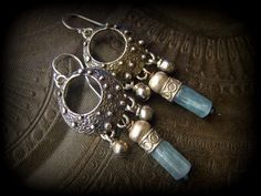 Blue Kyanite, Silver, Hoop, White Bronze, , Banjara, Kuchi, Healing Stone, Tribal, Gypsy, Beaded Earrings