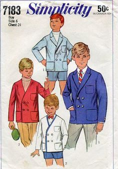 FREE US SHIP Simplicity 7183 Vintage Retro 1960's 60'sBoys Double Breasted Suit Jacket Uncut Size 6 Sewing Pattern by LanetzLivingPatterns on Etsy