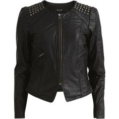 Vila Viscandis - Leather Jacket (465 BRL) ❤ liked on Polyvore featuring outerwear, jackets, black, tall jackets, leather zip jacket, studded leather jacket, tall leather jacket and leather jackets