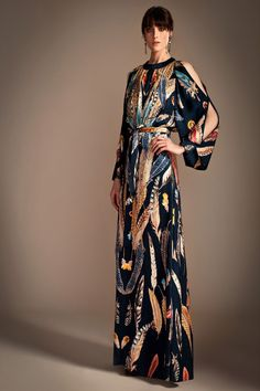 Temperley London #dress #maxi #prints #feather