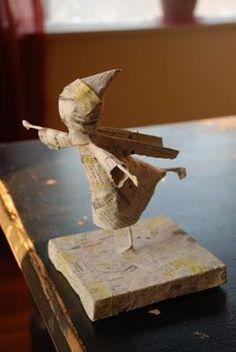 12 x 6.5 x 19 cm d/écopatch Mache Origami Rabbit Brown
