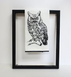 Cotton huck tea towel with black owl  hand by ecarlateboutique, $14.00