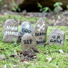 mini gravestones for a spooky fairy garden or Halloween terrarium.