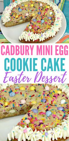 Cadbury Mini Eggs Easter Cookie Cake Try this Cadbury Mini Egg Easter Cookie Cake for your family's Easter dessert! It's an easy recipe that all your guests and family will enjoy for Easter dinner, especially if they're fans of Cadbury Mini Eggs! Desserts Ostern, Köstliche Desserts, Holiday Desserts, Easter Appetizers, Easter Dinner Recipes, Easy Easter Recipes, Easter Cookies, Easter Treats, Easter Food