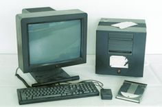 The historic NeXT computer used by Tim Berners-Lee in 1990, on display in the Microcosm exhibition at CERN. It was the first web server, hypermedia browser and web editor.    Made by Steve Jobs New Technology, Audio, World, Bbc News, History, The World, Earth