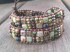 bracelet Amazonie wrap 2 tours ethnique perles de bohème et inox : Bracelet par les-bijoux-d-akasha